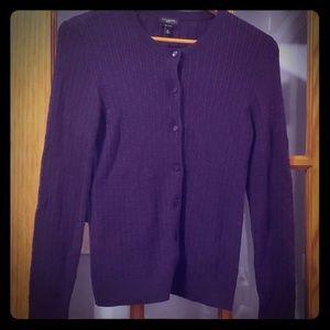 Purple Talbots Medium Petite cable knit cardigan